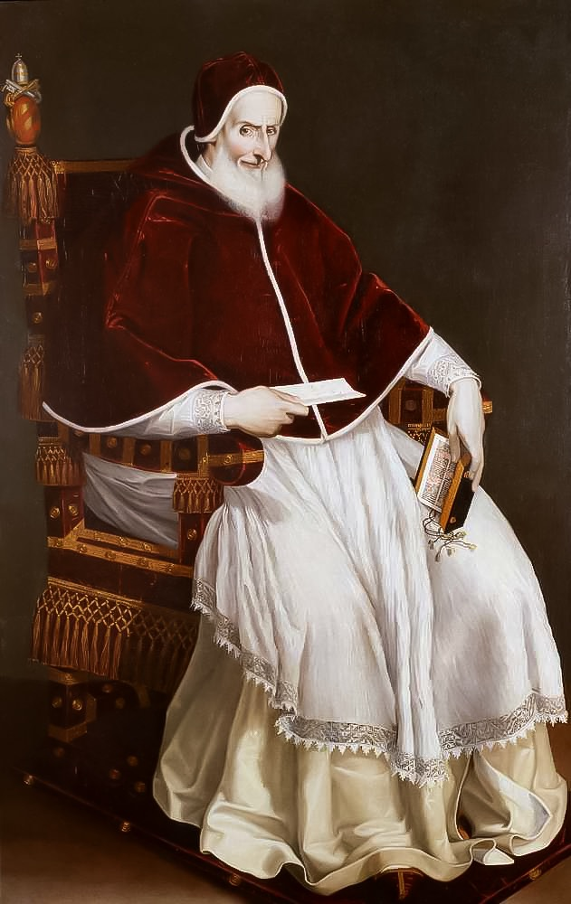 A portrait of St. Pius V, a bearded man holding a holy book and a letter.